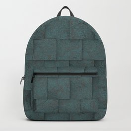 Grey Blue Squared Stone Blocks Wall Texture Backpack