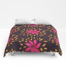 Whimsical Watercolor Floral Pattern In Pink And Purple Comforters