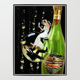 Vintage Domaine Ste. Brut Michelle Champagne Advertisement Poster Poster