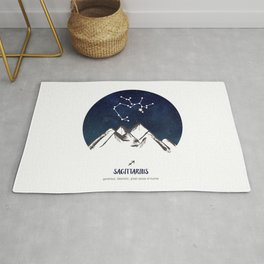 Astrology Sagittarius Zodiac Horoscope Constellation Star Sign Watercolor Poster Wall Art Rug