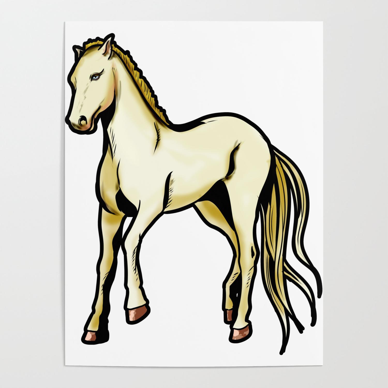 Akhal Teke Ahal Teke Akhal Teke Horse Riding Cartoon Drawing Poster By Moonpie90 Society6