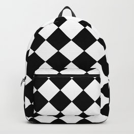 SMALL BLACK AND WHITE HARLEQUIN DIAMOND PATTERN Backpack