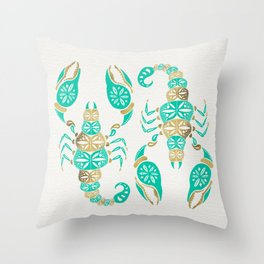 Scorpion – Turquoise & Gold Throw Pillow