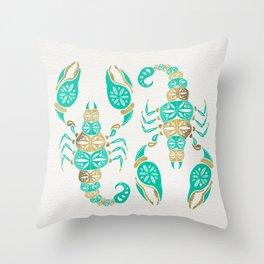 Scorpion – Turquoise & Gold Throw Pillow