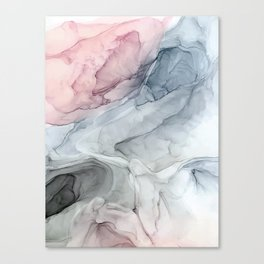 Pastel Blush, Grey and Blue Ink Clouds Painting Canvas Print