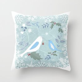 Christmas Foliage Bird heart Throw Pillow