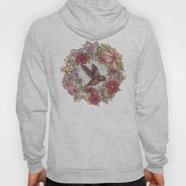 Hummingbird In Flowery Garden Wreath Hoody