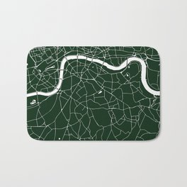 Green on White London Street Map Bath Mat