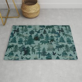 The Wild North, Wildlife, Blue Silhouette Forest and Animal Print Rug