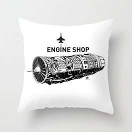 ENGINE SHOP - F16 Throw Pillow