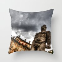 hercules Throw Pillows featuring Hercules' statue by Roberto Pagani