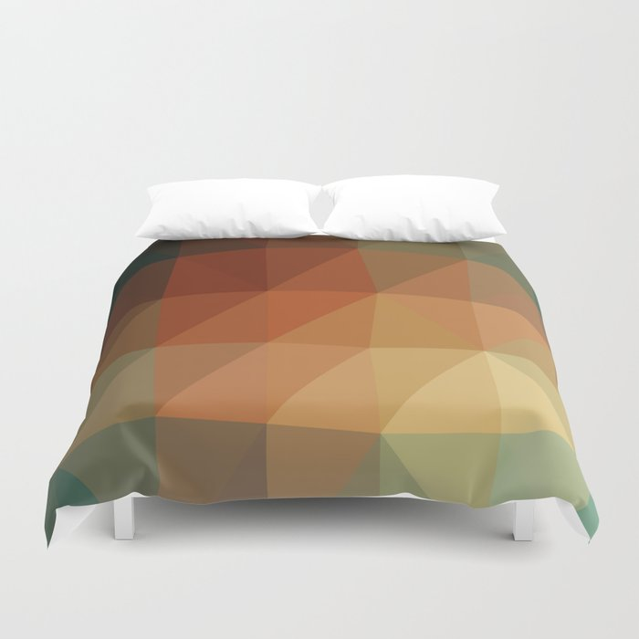 Shades Of Green And Brown Triangle Abstract Duvet Cover
