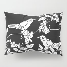 Birds on Branches, Drawing (White on Black) Pillow Sham