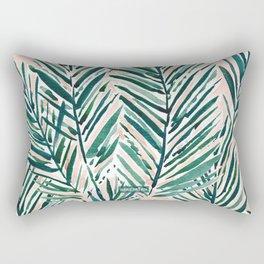 SUNSET PALMS Blush Tropical Print Rectangular Pillow