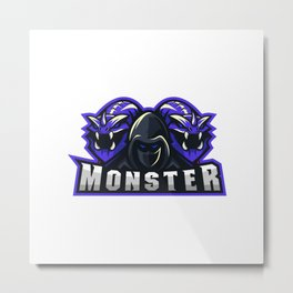 Boy With Two Monster Illustration Gaming Squad Metal Print