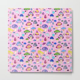 Watercolor Mushroom Pattern on Pink Metal Print