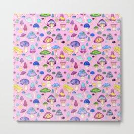 Watercolor Mushroom Pattern on Pink Metal Print