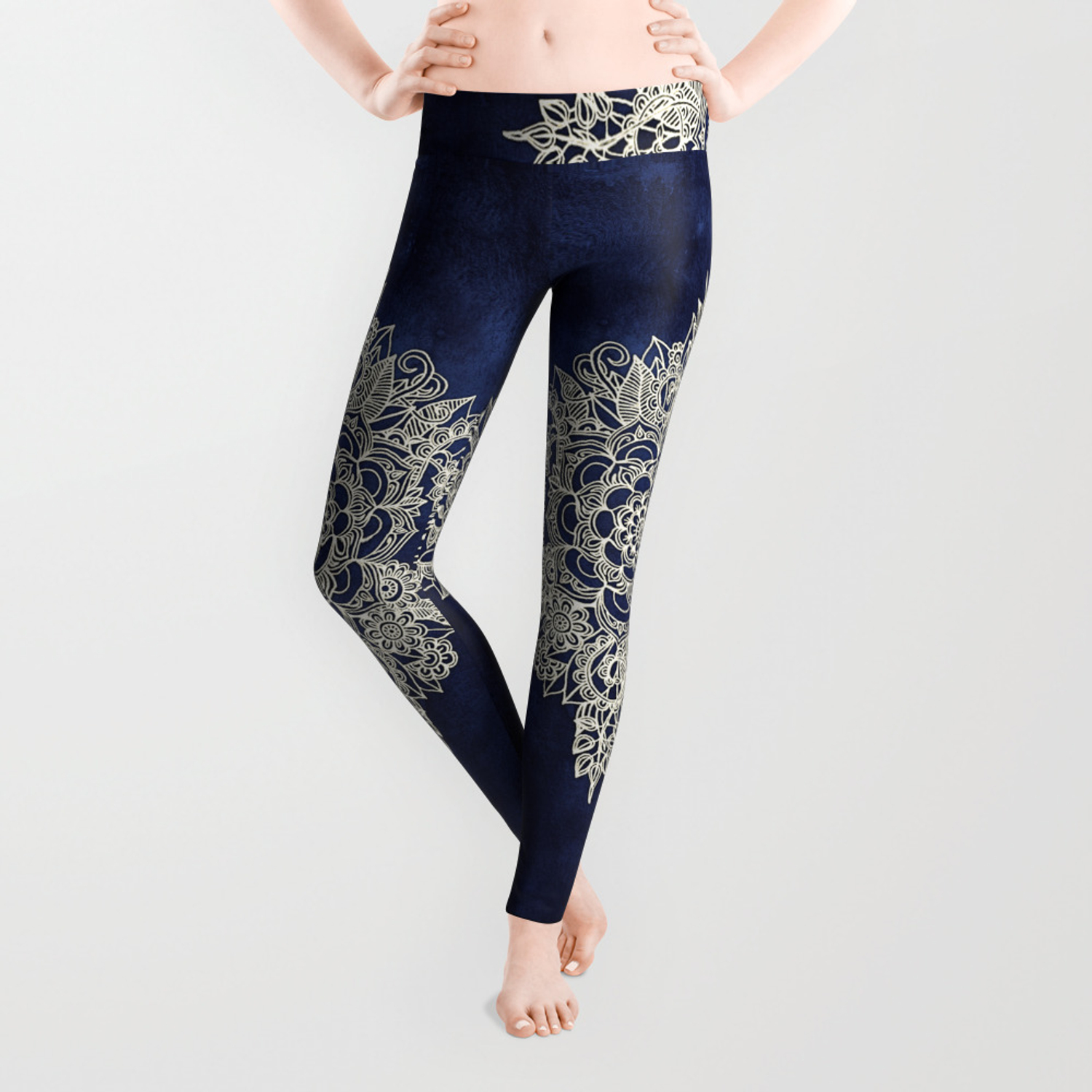 dc7c46764f0378 Cream Floral Moroccan Pattern on Deep Indigo Ink Leggings by micklyn ...