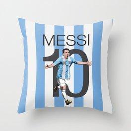 Lionel Messi Argentina 10 Print Throw Pillow