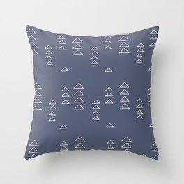Modern Minimalist Triangle Pattern in Slate Blue Throw Pillow