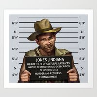 indiana jones Art Prints featuring Indiana Jones Mugshot by The Cracked Dispensary