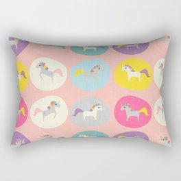 Cute Unicorn polka dots pink pastel colors and linen texture #homedecor #apparel #stationary #kids Rectangular Pillow