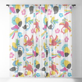 Pattern Of Colorful Parrots, Tropical Birds Sheer Curtain