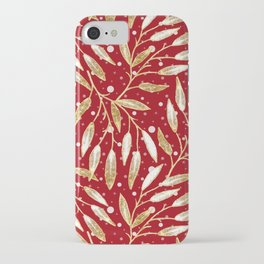 Christmas colorful pattern. Gold sprigs on a red background. iPhone Case