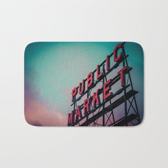 Seattle Pike Place Public Market Sign at Dawn Bath Mat
