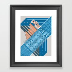 Pittsburgh Neighborhoods, rev. 2 blue/gray/coral Framed Art Print