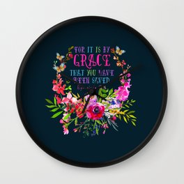 Saved by Grace (Navy version) Wall Clock