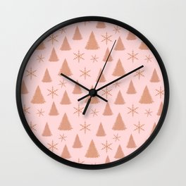 Rose Gold Glitter Christmas Tree Pattern Wall Clock