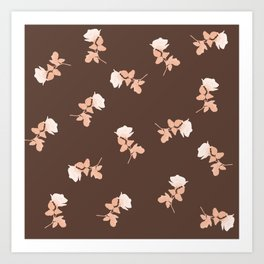 Vintage pink roses pattern on almond brown Art Print