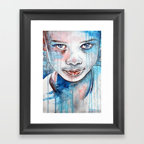 When the rain washes you clean, watercolor illustration Framed Art Print