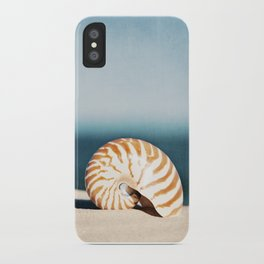 Seashell on Beach Photography, Nautilus Shell Coastal Photograph, Blue Orange Beach Landscape iPhone Case