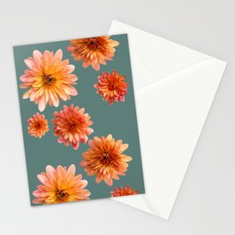 Coral Mum Floral Pattern - Scattered Flowers on Teal - Chrysanthemum Bloom Pattern - Real Flowers Stationery Cards