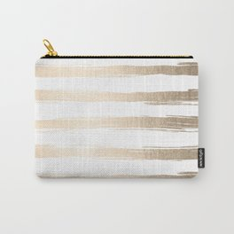 Simply Brushed Stripes White Gold Sands on White Carry-All Pouch