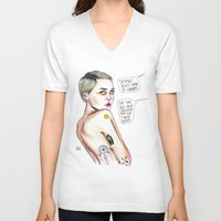 miley V-neck T-shirts featuring Satanist miley  by Lucas David