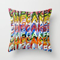 cupcakes Throw Pillows featuring CUPCAKES by Claudia McBain