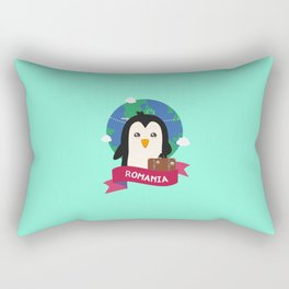 Penguin Globetrotter from Romania T-Shirt Rectangular Pillow