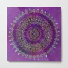 Precious Mandala in rich purple and pink tones Metal Print