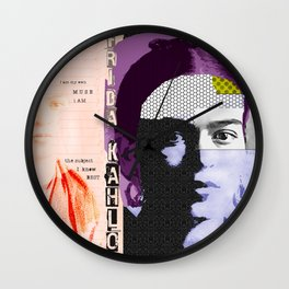 Frida Kahlo Abstract Pop Art Portrait by Michel Keck Wall Clock