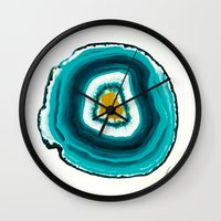 agate Wall Clocks featuring Agate Turquoise  by Xchange Art Studio