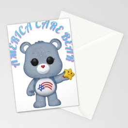 american bear blue on pink font Stationery Cards