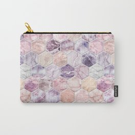 Rose Quartz and Amethyst Stone and Marble Hexagon Tiles Carry-All Pouch