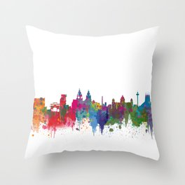Liverpool seafront city line skyline waterfront watercolour colours colour splash by Evangelos Throw Pillow