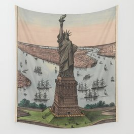 Vintage NYC & Statue of Liberty Illustration (1885) Wall Tapestry