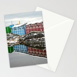 Colourful buildings mirroring in lake Stationery Cards