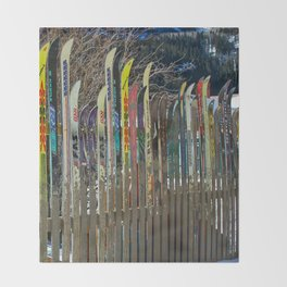 Colorado Ski Fence Throw Blanket