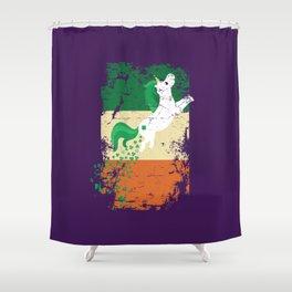 Distressed Irish Flag St Patricks Unicorn Purple Shower Curtain